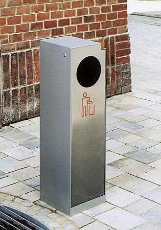 Abfallbehälter CRYSTAL mit Ascher, 32 Liter, ohne Einwurfklappe, Edelstahl, Siebdruck in RAL 3020 verkehrsrot
