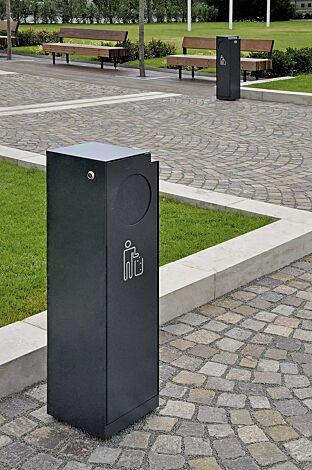 Abfallbehälter CRYSTAL mit Ascher, 32 Liter, mit Einwurfklappe, in RAL 7016 anthrazitgrau, Siebdruck in RAL 9003 signalweiß