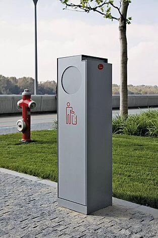Abfallbehälter CRYSTAL mit Ascher, 32 Liter, mit Einwurfklappe, in RAL 9007 graualuminium, Siebdruck in RAL 3020 verkehrsrot