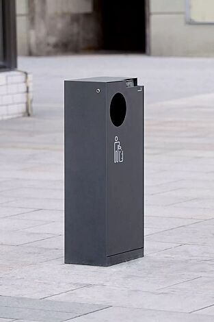 Abfallbehälter CRYSTAL mit Ascher, 55 Liter, ohne Einwurfklappe, in RAL 7016 anthrazitgrau, Siebdruck in RAL 9003 signalweiß