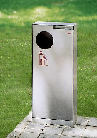 Abfallbehälter CRYSTAL mit Ascher, 55 Liter, ohne Einwurfklappe, aus Edelstahl, Siebdruck in RAL 3020 verkehrsrot