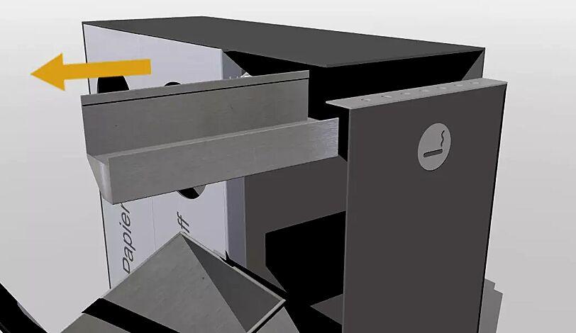 Detail: Entleerung Ascher CRYSTAL TRIO