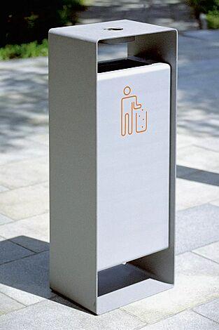 Abfallbehälter RADIUM in RAL 9007 graualuminium und RAL 9006 weißaluminium (zweifarbig auf Anfrage), Siebdruck in RAL 2004 reinorange