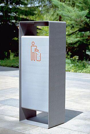 Abfallbehälter RADIUM in RAL 9007 graualuminium und RAL 9006 weißaluminium (zweifarbig auf Anfrage), Siebdruck in RAL 3020 verkehrsrot