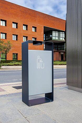 Abfallbehälter RADIUM in RAL 7016 anthrazitgrau und RAL 9006 weißaluminium (zweifarbig auf Anfrage), Siebdruck in RAL 9003 signalweiß