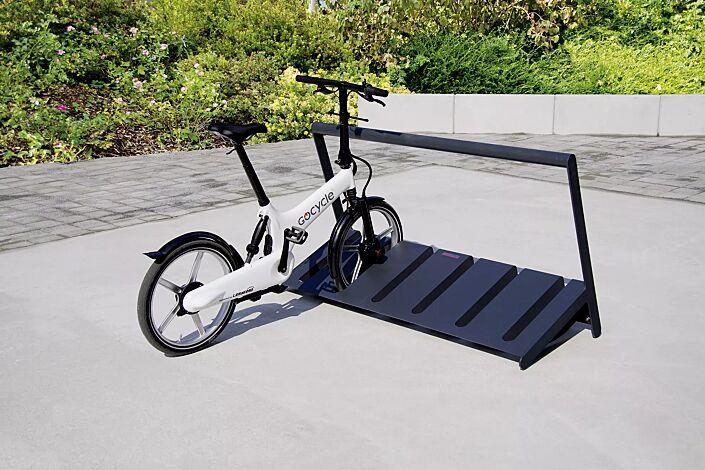 Fahrradständer VELO mit Griffstange, einseitig, 3 Stellplätze, in RAL 7016 anthrazitgrau