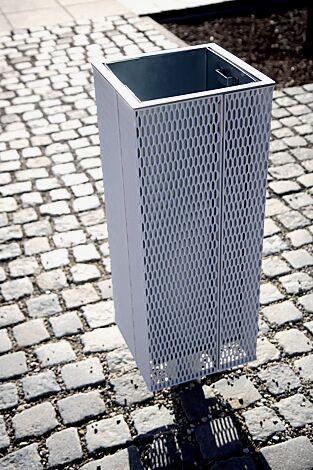 Abfallbehälter NANUK, quadratisch, Korpus: Streckmetall, in RAL 9006 weißaluminium<br>