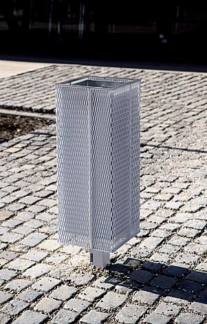 Abfallbehälter NANUK, Korpus: Streckmetall, in RAL 9006 weißaluminium