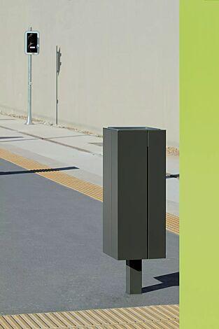 Abfallbehälter NANUK, quadratisch, Korpus: Stahlblech, in RAL 9007 graualuminium