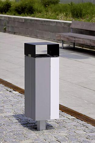 Abfallbehälter NANUK, mit Schutzdach, Korpus: Stahlblech, zweifarbig auf Anfrage