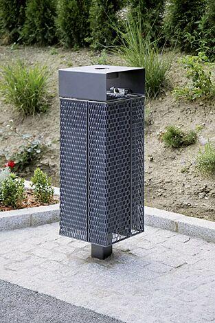 Abfallbehälter NANUK, quadratisch, mit Schutzdach und Ascher, Korpus: Streckmetall, in RAL 9007 graualuminium