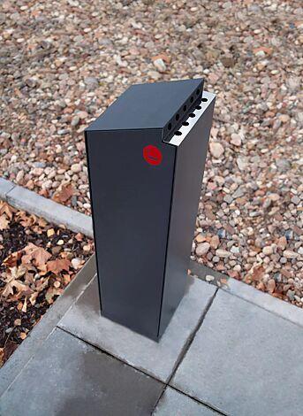 Standascher CRYSTAL, in RAL 7016 anthrazitgrau, Siebdruck in RAL 3020 verkehrsrot