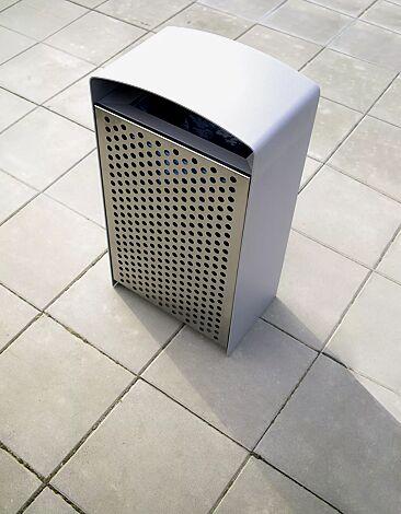 Abfallbehälter PRAX, Korpus: Stahlblech, Stahlteile in RAL 9006 weißaluminium und DB 701 eisenglimmer (zweifarbig auf Anfrage)
