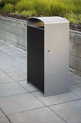 Abfallbehälter PRAX, Korpus: HPL, Stahlteile in RAL 9006 weißaluminium
