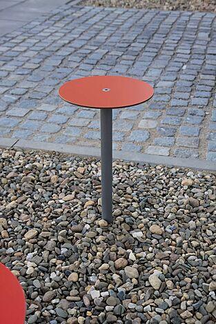 Barhocker BISTROT mit HPL-Auflage in rot, Stahlteile in RAL 9007 graualuminium