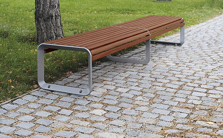Doppelsitzbank PORTIQOA ohne Rückenlehne, mit Jatobaholzbelattung