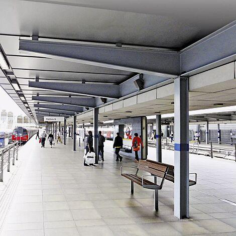 Sitzbank INTERVERA mit Jatobaholzbelattung, Stahlteile in DB 703 eisenglimmer