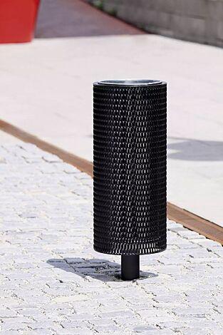 Abfallbehälter NANUK, rund, Korpus: Streckmetall, in RAL 9005 tiefschwarz