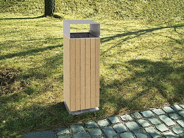 Abfallbehälter NANUK, Standbehälter mit Schutzdach, Korpus: Robinienholzbelattung, Stahlteile in RAL 9006 weißaluminium