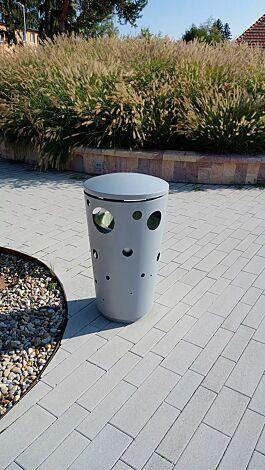Abfallbehälter SWISSBIN zum Aufdübeln, in RAL 9006 weißaluminium