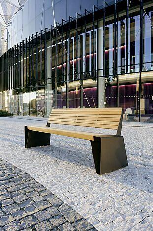 Sitzbank RADIUM mit Rückenlehne, mit Robinienholzbelattung, Stahlteile in RAL 7016 anthrazitgrau