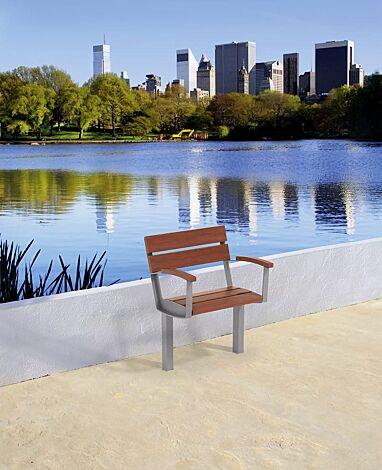 Senioren-Sitz INTERVERA mit Jatobaholzbelattung, Stahlteile in RAL 9007 graualuminium