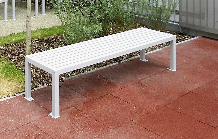 Sitzbank LIGURIA ohne Rückenlehne, zum Aufdübeln, mit Stahlauflage, in RAL 9006 weißaluminium