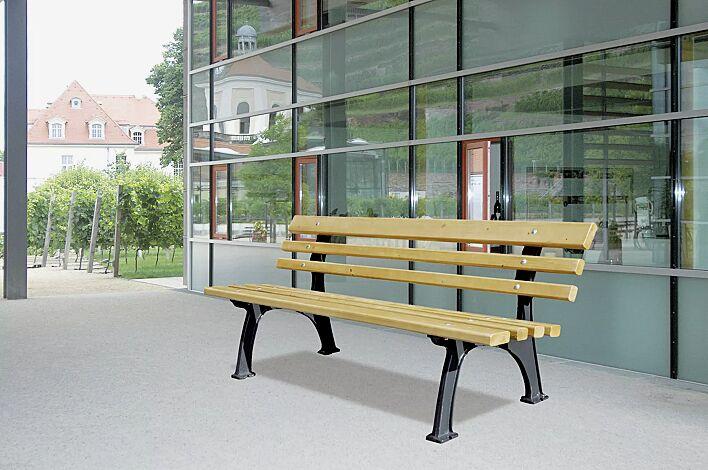 Sitzbank MESSINA mit Rückenlehne, mit Fichteholzbelattung