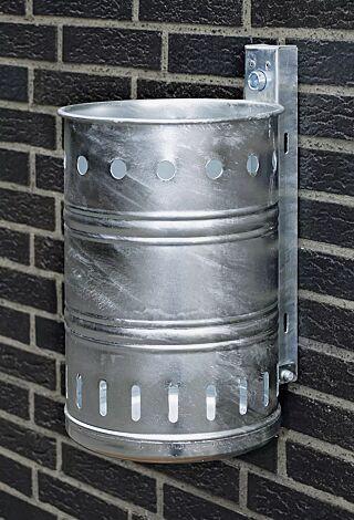 Abfallbehälter NOSTALGIA mit Lochoptik, Inhalt 20 Liter, feuerverzinkt