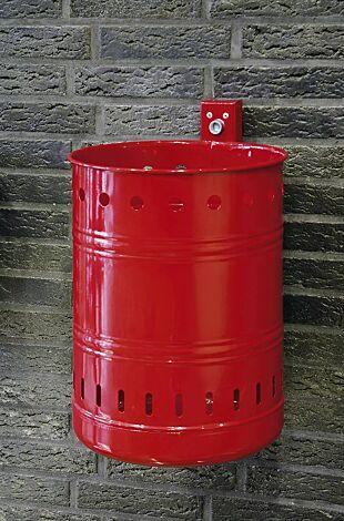 Abfallbehälter NOSTALGIA mit Lochoptik, Inhalt 35 Liter, in RAL 3002 karminrot