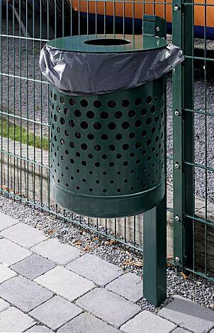 """<div id=""""container"""" class=""""container"""">Abfallbehälter KÖLN ohne Ascher, 35 Liter, mit Lochoptik, zum Einbetonieren, in RAL 6005 moosgrün</div>"""