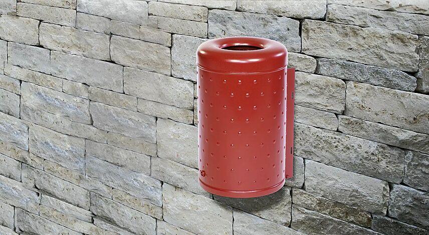 Abfallbehälter LETABA, in RAL 3002 karminrot