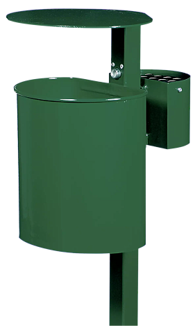 Abfallbehälter ASPEN, aus Vollblech, in RAL 6005 moosgrün