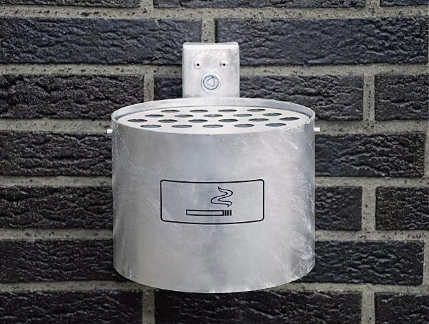 Halbrundascher KERRY mit Schutzdach, Wandbefestigung, 2 Liter, pulverbeschichtet in Edelstahloptik