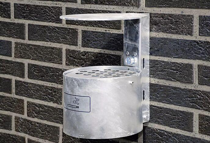 Rundascher KERRY mit Schutzdach, Wandbefestigung, 4 Liter, pulverbeschichtet RAL 3002 karminrot
