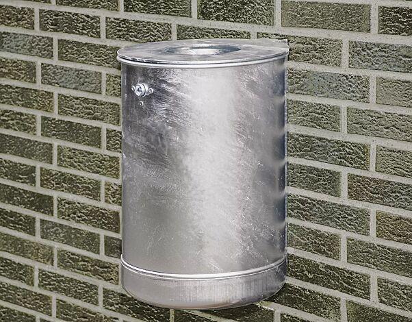 Abfallbehälter KÖLN ohne Ascher, 50 Liter, Vollblech, zur Wandbefestigung, feuerverzinkt