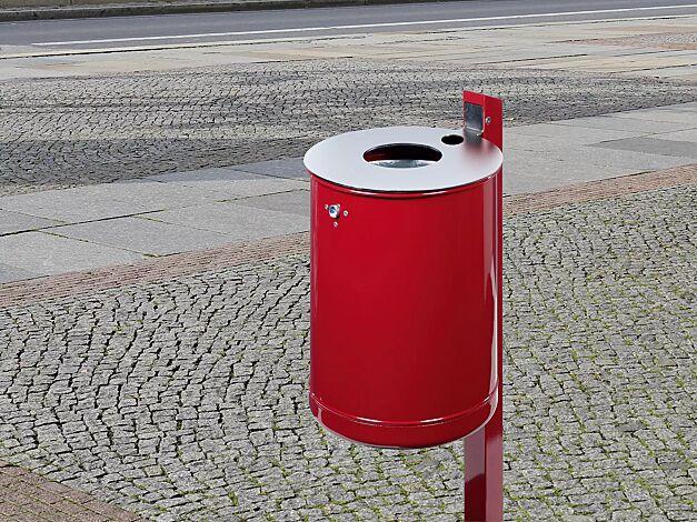 Abfallbehälter KÖLN mit Ascher, Vollblech, zum Einbetonieren, in RAL 3002 karminrot, Deckel aus Edelstahl