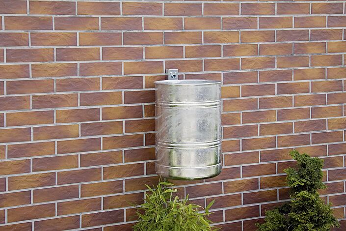 Abfallbehälter BRISTOL, Vollblech, feuerverzinkt, Wandbefestigung