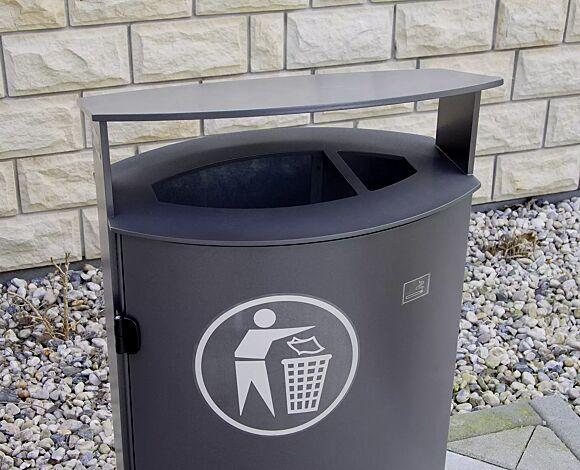 Abfallbehälter SARNIA, mit Ascher, in RAL 7016 anthrazitgrau