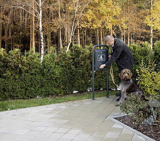 Hundekotbeutelspender COLLIE, zum Aufdübeln, in RAL 7016 anthrazitgrau