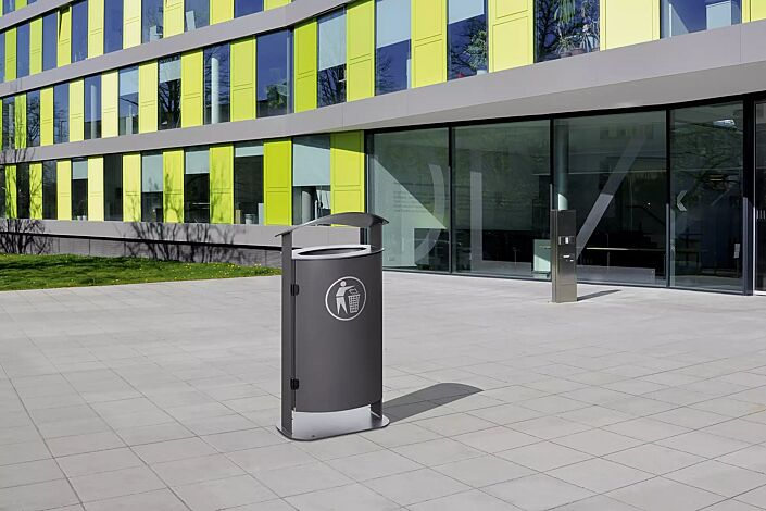 Abfallbehälter SARNIA, mit Ascher, zum Aufdübeln, in RAL 7016 anthrazitgrau