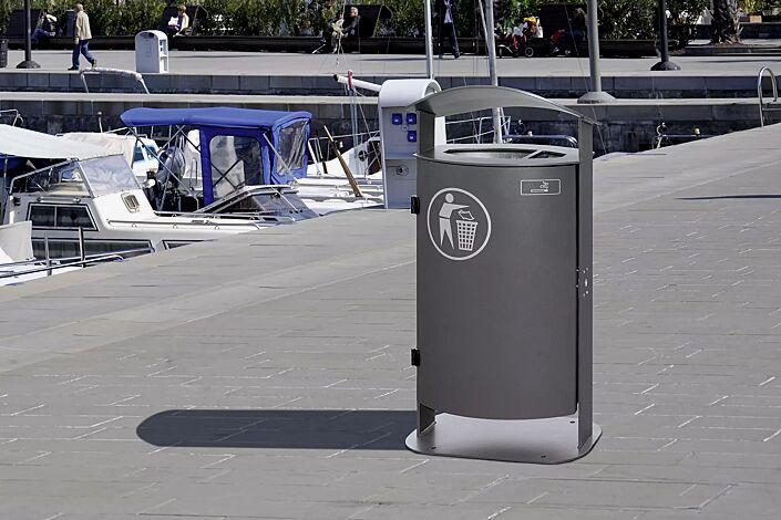Abfallbehälter SARNIA, mit Ascher, zum Aufdübeln, in DB 703 eisenglimmer