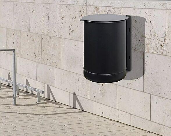 Abfallbehälter KÖLN III, in RAL 7021 schwarzgrau