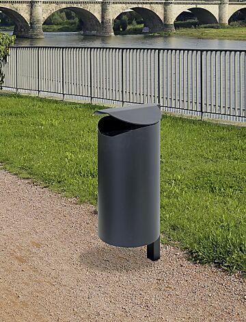Abfallbehälter GLACE aus Vollblech, zum Einbetonieren, in RAL 7021 schwarzgrau