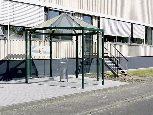 Einzel-Pavillon AQUA Dachbreite x Dachtiefe 3300 mm x 3300 mm, Stahlkonstruktion feuerverzinkt und pulverbeschichtet inkl. 6 Seitenwände ESG Klarglas, Dacheindeckung VSG Klarglas