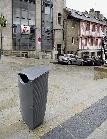 Abfallbehälter NASTRA, Aluminiumguss in RAL 9006 weißaluminium