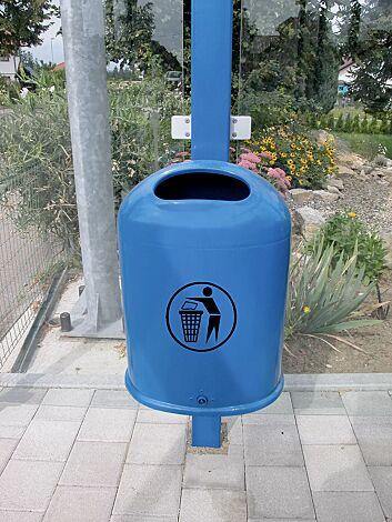 Abfallbehälter DERBY aus Stahl, in RAL 5015 himmelblau