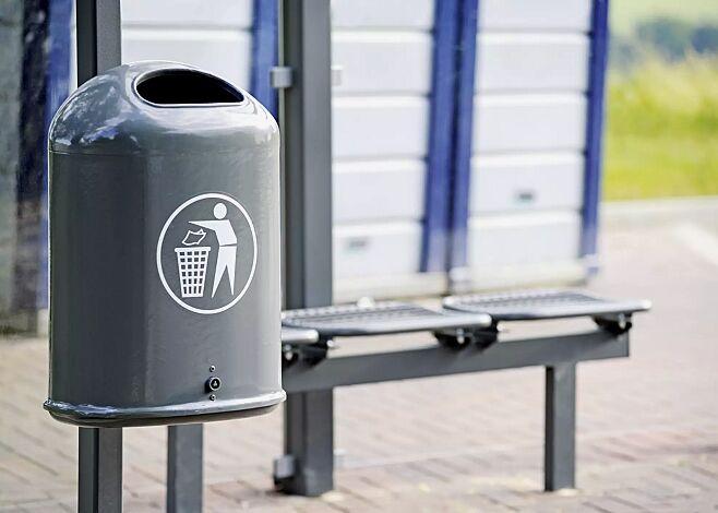Abfallbehälter DERBY aus Stahl, in DB 703 eisenglimmer