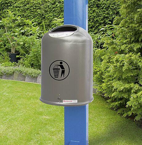 Abfallbehälter DERBY aus Stahlblech, mit Ascher, in DB 703 eisenglimmer