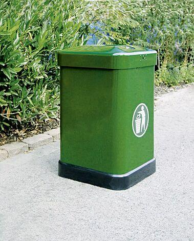 Abfallbehälter MAXI, mit Ascher, in RAL 6001 smaragdgrün